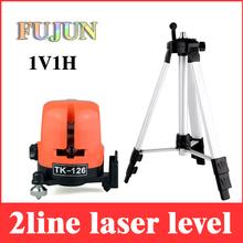 Nivel láser 2 line 360 1V1H cruz autonivelante horizontal y vertical lazer líneas con paquete al por menor + Max 1.5 m trípode LL06