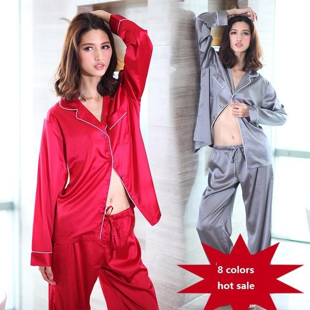 8 цвет 2016 новый одежда из искусственного шелка и сатинировок пижамы с длинным рукавом ...