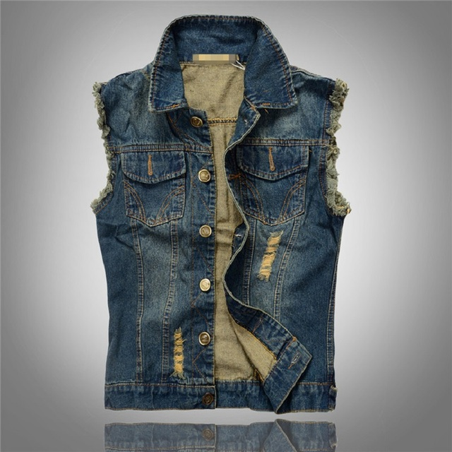 Плиссированные винтажный дизайн человек джинсовый жилет Большой размер 6xl человек ...