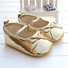 2015 New Baby Schoenen Gold Patent Leather Bow Girls Ballerina Flat With Anti-slip Soft Sole Toddler Moccasins Scarpe Neonata(China (Mainland))