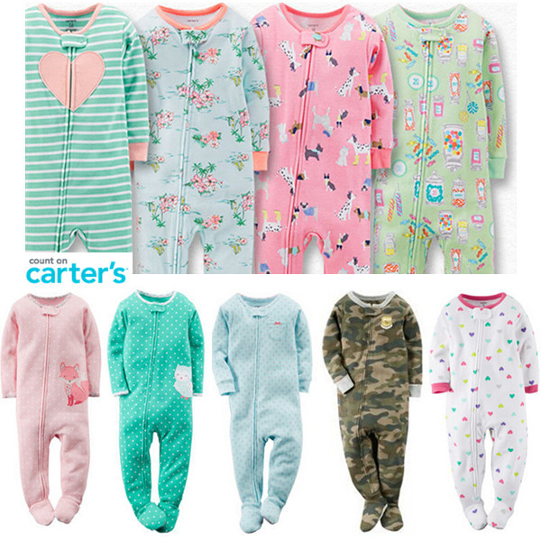 2015 Spring Summer Carter s Baby Rompers Socks Boy Girl Bedclothes 100 Ribbed Cotton Newborn Jumpsuits
