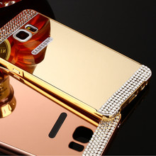 Buy Rhinestone Bling Diamond Mirror PC Cover Metal Aluminum Hard Case For Samsung Galaxy A3 A5 A7 A8 J3 J5 J7 S5 S6 S7 Grand Prime for $4.07 in AliExpress store