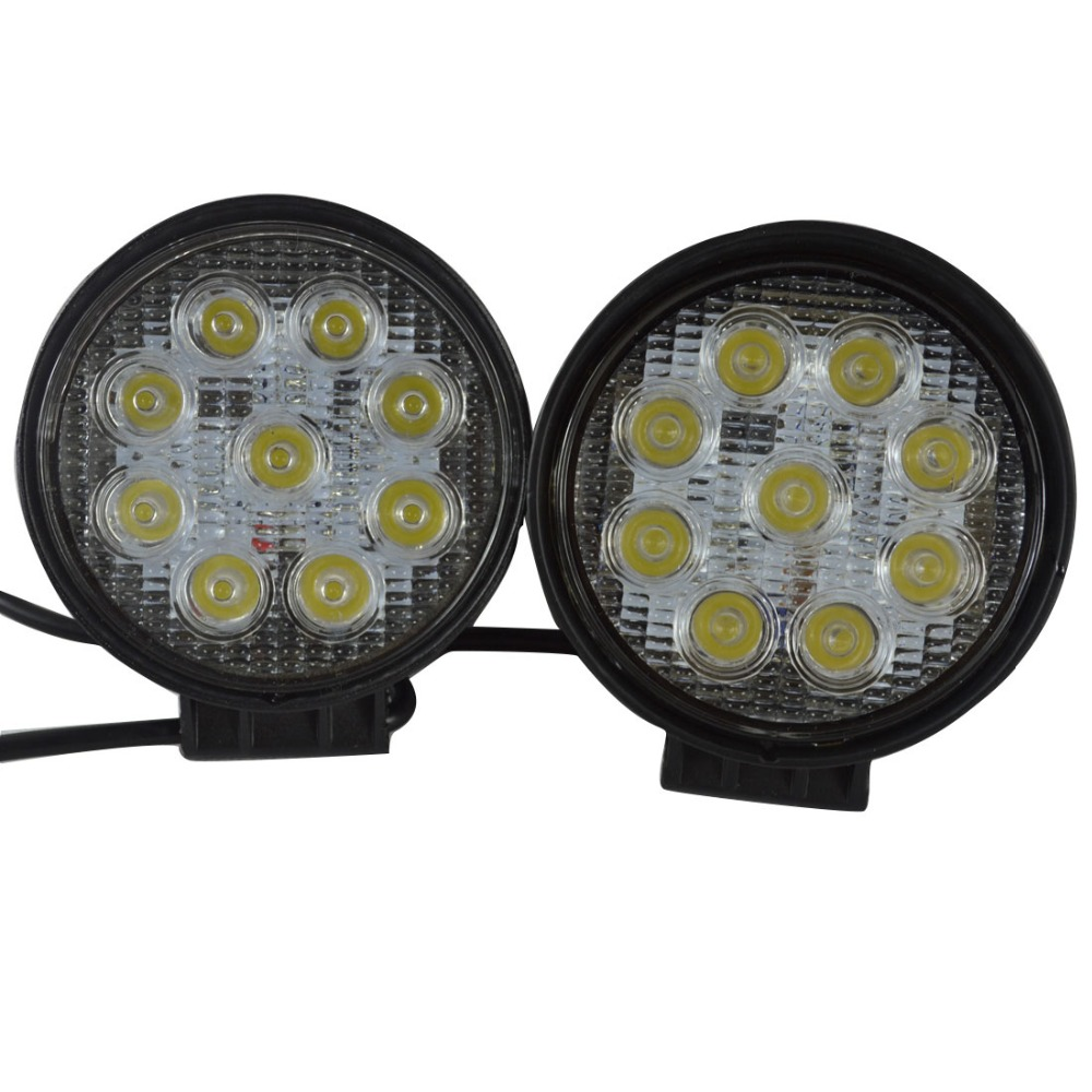 2PCS LED Work Light 4 Inch 27W Flood Fog Driving Lamp 12V for Motorcycle Tractor Truck Trailer SUV Offroads Boat 4WD Work Light<br><br>Aliexpress