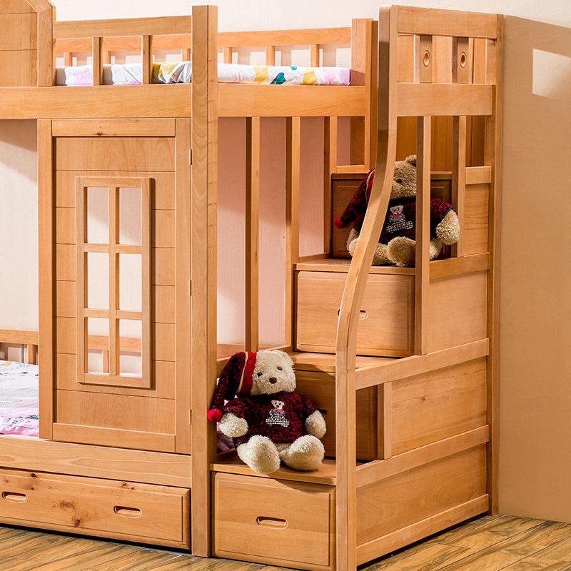 Hot sale wooden kids bunk bed beech wood children