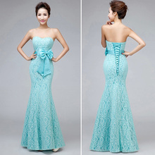 Sweetheart Strapless Mermaid Long Lace Mint Green Bridesmaid Dresses 2015 With Bow(China (Mainland))