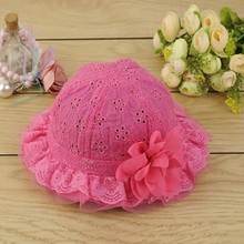 Cute Baby Girls Hollow Sun Cap Pure Color Lace Sunshade Summer Beach Bucket Flower Hat(China (Mainland))