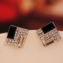 Europa na moda de luxo branco preto elegante espumante Bling Rhinestone praça brincos para as mulheres jóias