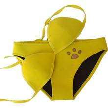 2016 Women Summer Cat Paw Pattern Triangle Bikini Swimwear Sexy Low Waist Push Up Neoprene Swimsuit Bathing Suit GI-876(China (Mainland))