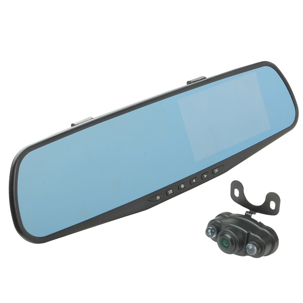 "4.3"" inch FHD 1080P Dash Cam CMOS 170 Degree Wide-Angle H.264 Dual Lens Car DVR Rearview Mirror(China (Mainland))"