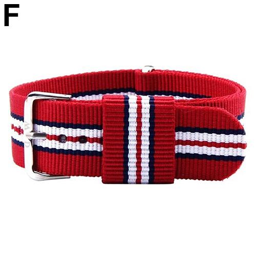 Unisex Striped Pattern Fashion British Style Canvas 20mm Wrist Watch Band Strap