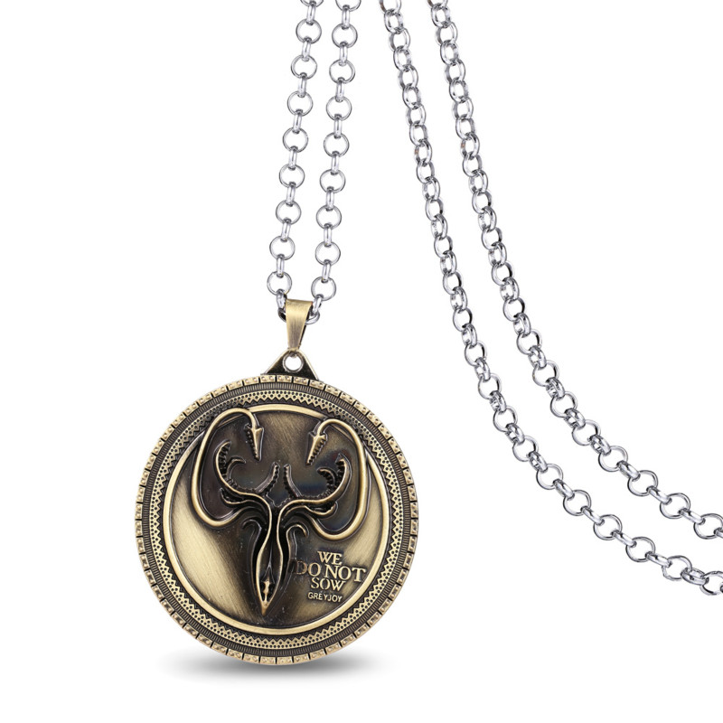 HSIC JEWELRY Wholesale 5pcs/lot Movie Gifts Game of Thrones House Greyjoy Metal Pendant Necklace Cosplay Accessory HC10791(China (Mainland))