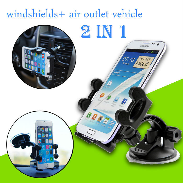 Universal Car phone holder Windshield And air vent mount mobile phone holder stands for iphone 6 plus 5 5s Samsung S6 S4 S5(China (Mainland))