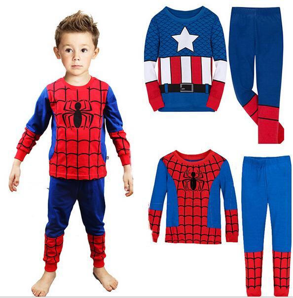 2015 New Casual Children Pajamas Cartoon Pajamas For Boys Long Sleeve Pajamas For Girls Cotton Pijamas Kids Clothing Set 2-7 T(China (Mainland))