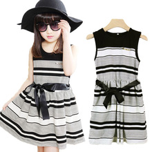3 To 12 Years Baby Girls Summer Style Cotton Bow Striped Party Dresses High Quality Kids Clothes Vestidos Mujer Roupa Infantil(China (Mainland))