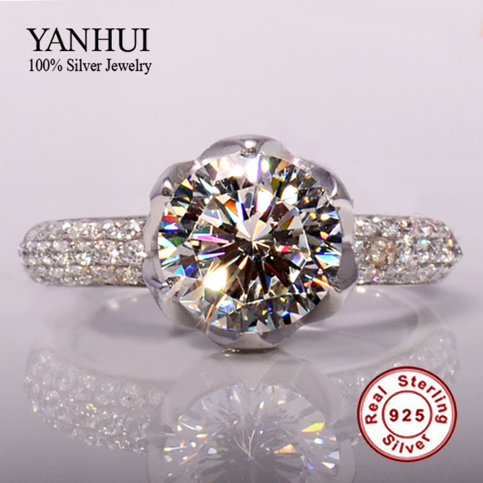 925 Sterling Silver Wedding Rings For Women Romantic Flower Shaped