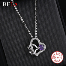 Romantic purple double heart jewelry with CZ Rhinestone necklace original 925 sterling silver love pendant necklaces for women(China (Mainland))