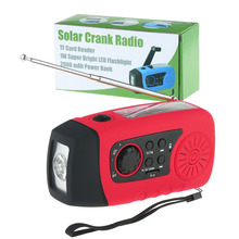 Emergency Solar Hand Crank FM Radio, MP3 Player, Flashlight, Smart Cell Phone Charger w/ USB Cable Red