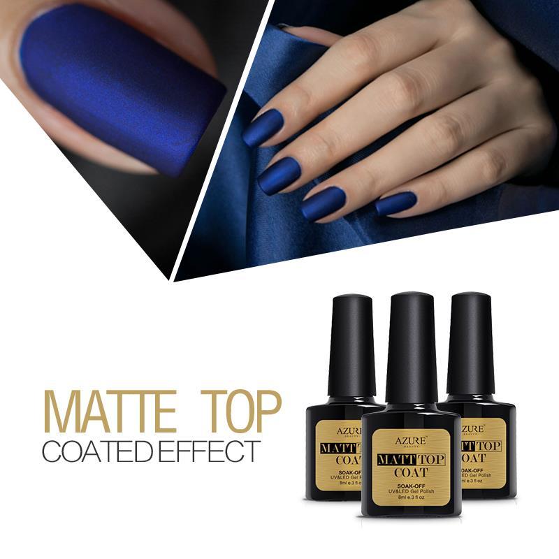 Azure Beauty 8ml Matt Matte Top Coat Nail Gel Polish Nail Art Tips Finish Top Coat Gel Long Lasting Gel Lacquer Matt Top Gel<br><br>Aliexpress