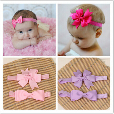 Children baby girl newborn elastic for hair head bands bow tiaras headwraps satin headwrap wraps turban headband headdress new(China (Mainland))