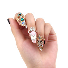 New Arrival 1pc Bowknot Crown Crystal Finger Nail Sets Jewellery Finger Rings / Fake Nail Art Rings Women 12 Types B11 SV005057(China (Mainland))
