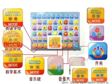 Free Shipping 2 in 1 chinese english learing table computer  Machine education toy,ABC NUMER ARITHMETIC learning