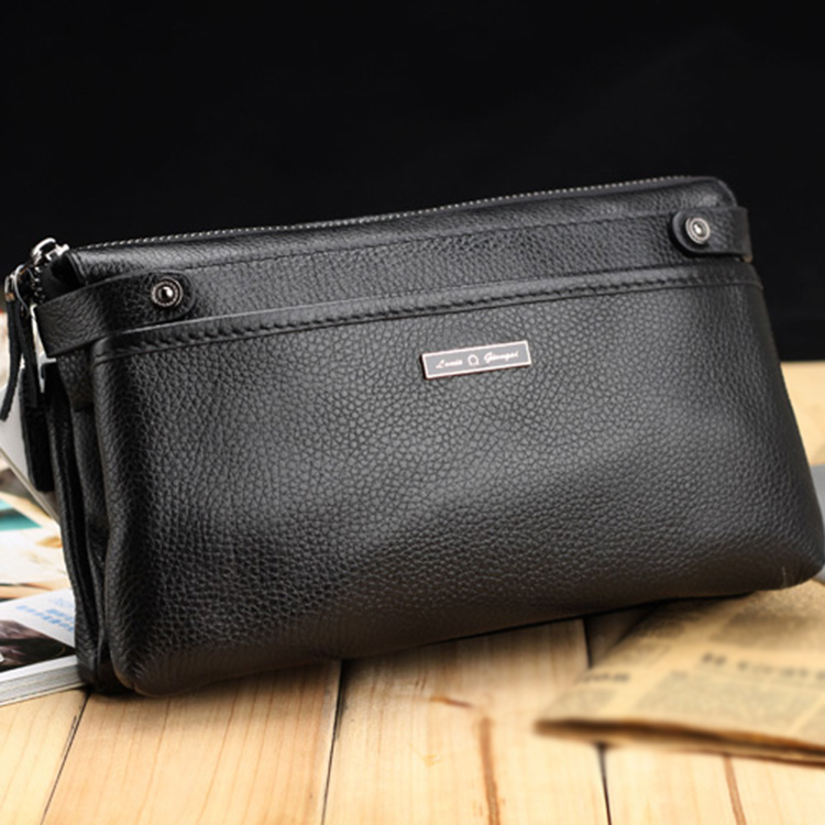 Hot Selling Brand Cowhide Genuine Leather Bag Men's Wallet High Quality Zipper Business Card Holder Purses Male Clutch Wallet