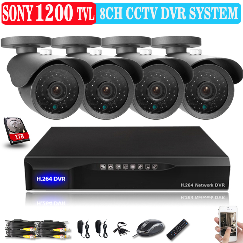 8ch cctv kit complete set cctv system installation security video bullet outdoor camera Sony CCD 1200tvl 8ch 960H HD DVR Kits(China (Mainland))