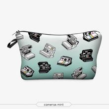 3D телефоны напечатаны косметический сумка полиэстер мода стиль молнии форма красочные организатор туалетных косметика чехол