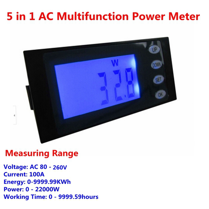 AC 80-260V 100A 5 in 1 Digital Energy/KWh Power/W Voltage/V Current/A Working Time/H meter gauge Free shipping(China (Mainland))