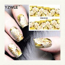 YZWLE 1 Folha DIY Decalques de Impressão de Transferência da Água Adesivos de Unhas Arte Acessórios Para Salão de Manicure YZW-8104