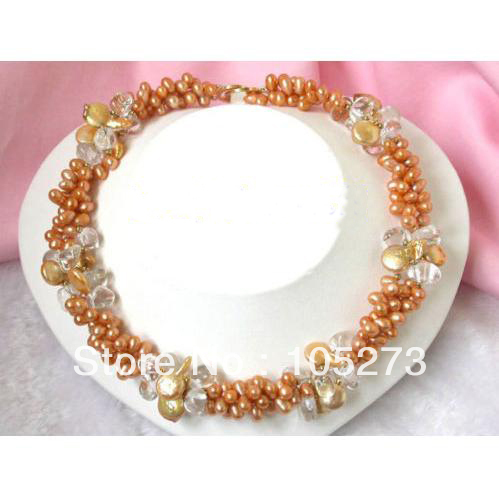 Elegant Natural Pearl Jewelry Beautiful 3 Strands 18 Champagne Color Coin Baroque Pearl Crystal Beads Necklace Free Shipping<br><br>Aliexpress