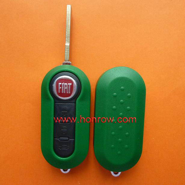 High quality fiat key- Fiat 3 button flip custom car flip key shell (Green Color) with free shipping