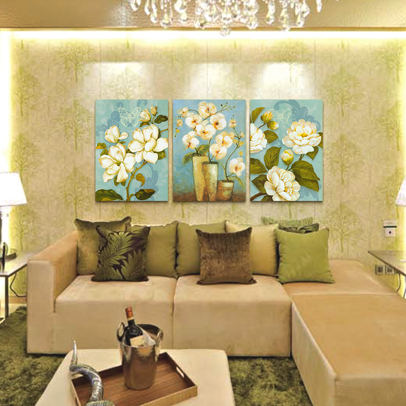 3 Piece Modern Flower Canvas Paintings Beautiful Magnolia Wall Art Oil Painting Set Living Room Decorative Pictures(China (Mainland))