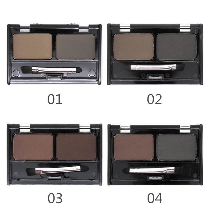 Brand New Sobrancelha Pó À Prova D' Água Para As Mulheres, sombra Eye Brow Com Escova 2 Cores Bolo Sobrancelha Makeup Palette Make Up Set Kit