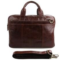 Hot sale men bags real leather briefcase portfolio genuine leather handbags laptop bags vintage messenger shoulder tote bag(China (Mainland))