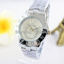 FreeShipping+New arrivel P Crown Rhinestone Simple business Quartz watches for women +two styles,5Colors