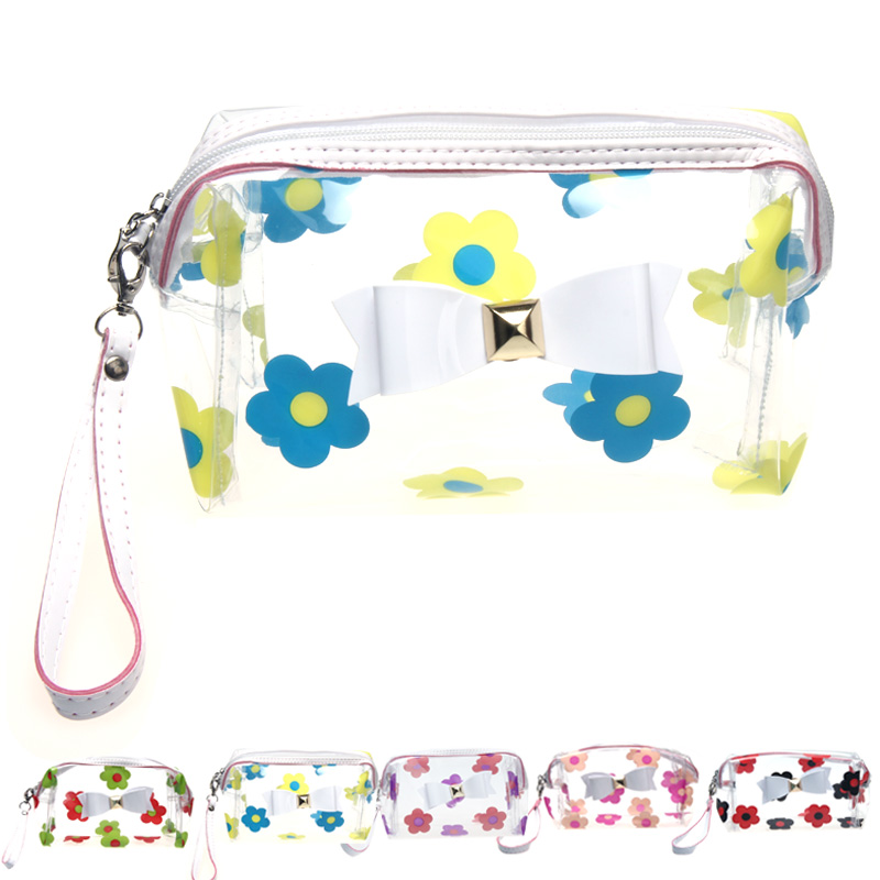 transparent cosmetic bag Waterproof Flower cosmetic bag high quality makeup storage bag travel toiletry bag cosmetische tas good(China (Mainland))