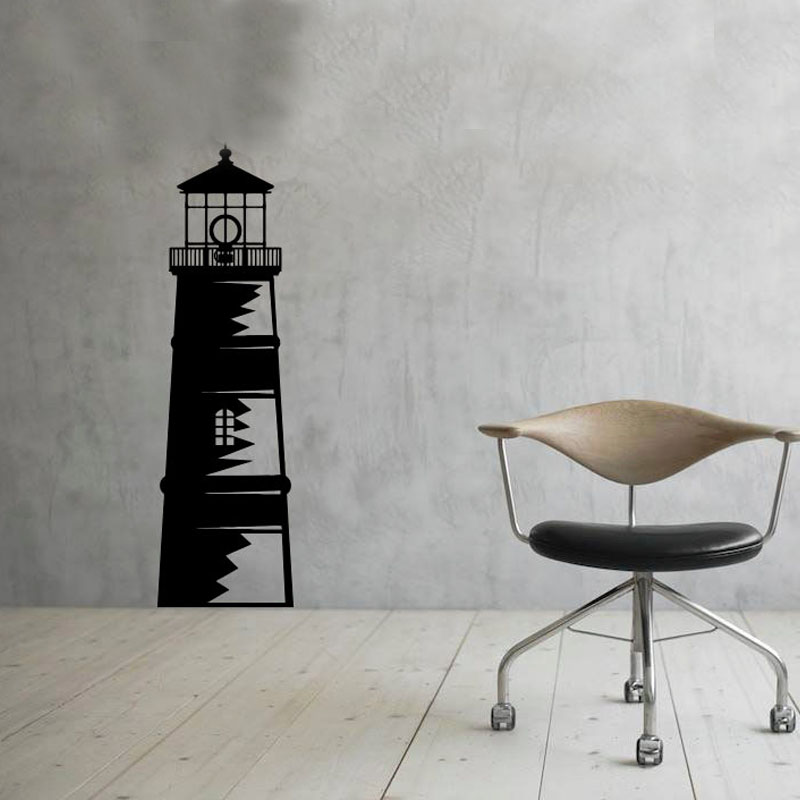 <font><b>Nautical</b></font> Ocean Lighthouse Wall Stickers <font><b>Home</b></font> <font><b>Decor</b></font> Removable Vinyl Wall Decal Sticker For Living Room
