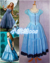2015 Newest Halloween FancyTim Burton Alice In Wonderland Cosplay Blue Dress Costume