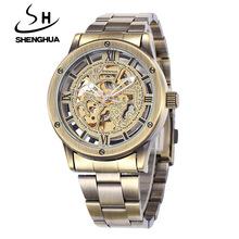 Brand Tags Shenhua Mechanical Watches Men Fashion Retro Bronze Skeleton Automatic Mechanical Watch Wristwatch Reloj Hombre(China (Mainland))