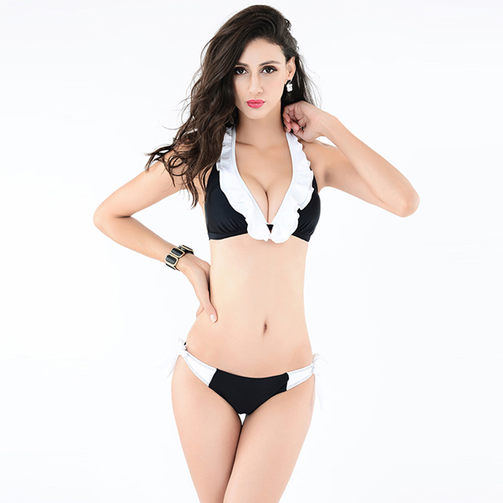 New Fashion Lace Top Push Up Bikini Women Vitage Black and White Bathing Suits Halter Neck Backless Swimsuits for Lady(China (Mainland))