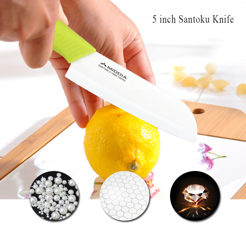 Buy Middia 5pcs Ceramic Knife set with block antibaterial chef ceramic knifes sets at Fruit/Santoku/Cleaver Knives cheap