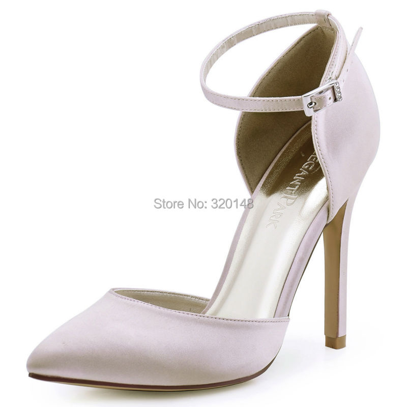 New Woman Pointed Toe Pumps HC1602 Ivory High Heels Ankle Strap Satin Wedding Bridal Pumps Woman Prom Dress Evening Party Shoes(China (Mainland))