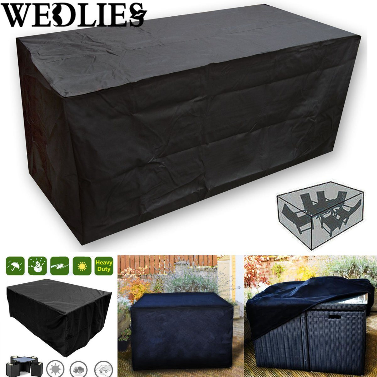 Black Waterproof Outdoor Patio Furniture Set Cover Garden Table Protective Cover Dustproof Table Cloth Home Textile 205X104X71cm(China (Mainland))