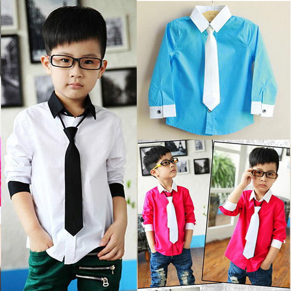 Kids Boys Dress Shirt Toddler Stand Collar With Solid Necktie Set Tops Size 3-8Y YRD(Hong Kong)
