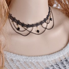 Handmade Chokers Necklaces Gothic Black Lace Flower Chain Sexy Tassel Necklaces Gift Short Collar Jewelry Crochet Necklace NL086