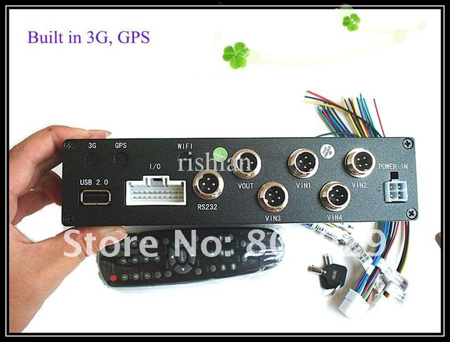5 pecs 4CH 3G H.264 Mobile DVR ,support GPS/3G/WIFI ,SD Card Support Max 32 GB,4CH CIF Real Time Video up to D1 standard,
