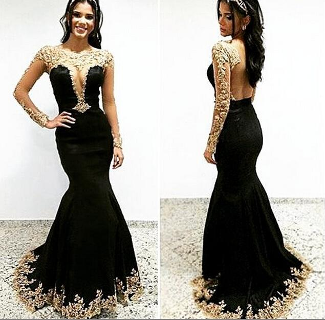 Vestidos De Noite Black Backless Arabic Evening Dresses 2017 Long Sleeve  Gold Appliques Sequins Beads Mermaid - Popular Black And Gold Gown Long Sleeve-Buy Cheap Black And Gold