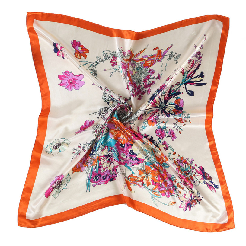 Brand new Floral Printed Women Lady Shawl Kerchief 90*90CM Neck Scarf Square Head Wrap #20 Gift 1pc(China (Mainland))
