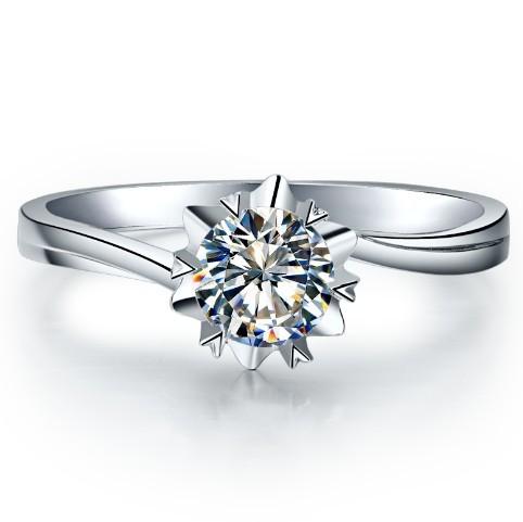 0.5 Carat Snow Flake Shape Shape Test As Real Genuine Moissanite Engagement Ring Genuine 18k White Gold Forever Love Lasting(China (Mainland))